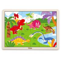 Koka puzle Viga Toys Dinosaurs Multi krāsa 24 elementi 30 x 22.5 x 1cm