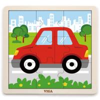 Koka puzle Viga Toys Auto Multi krāsa 9 elementi 22.5 x 22.5 x 1cm