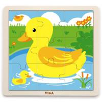 Koka puzle Viga Toys Duck Multi krāsa 9 elementi 22.5 x 22.5 x 1cm