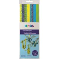 Heyda Kvīlinga papīra lentītes 30cm, zilas-zaļas-dzeltenas, 160gab.
