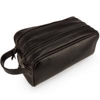 Vīriešu dabīgās ādas soma tualetes piederumiem Solier Szetland SK02 Tumši brūna 26 x 12 x 13cm